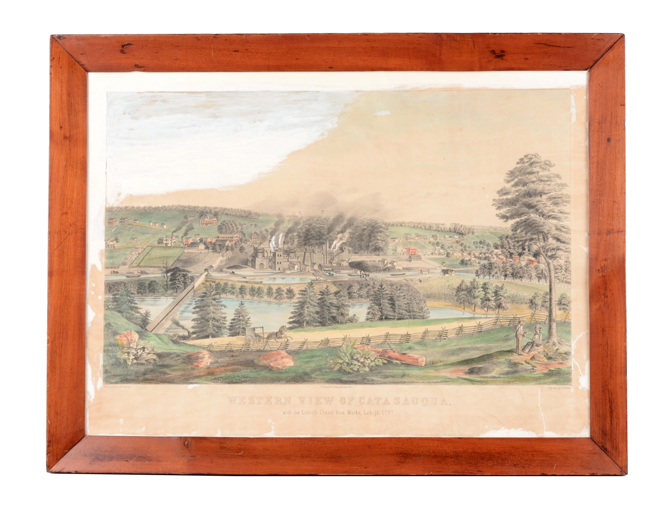 Framed Western View of Catasauqua Lithograph.