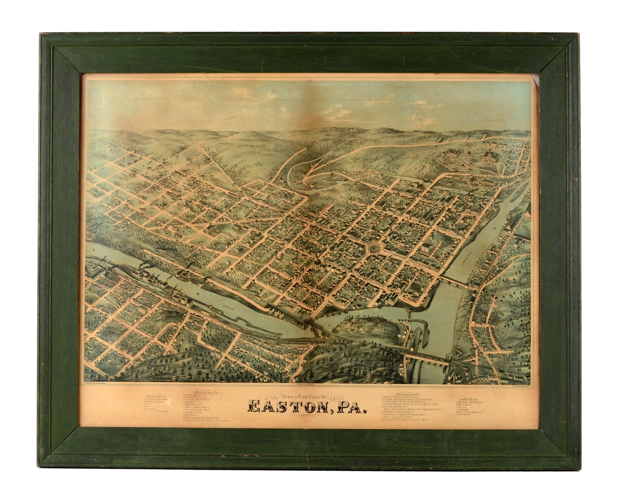 Framed Birdseye View of Easton, Pa.