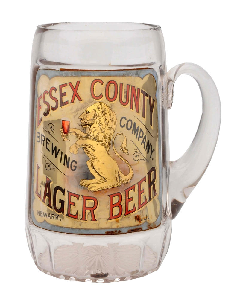 Essex County Lager Beer Label Under Glass Mug.