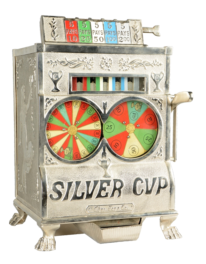 **Rare 5¢ Charles Fey Silver Cup Counter Wheel Slot Machine.