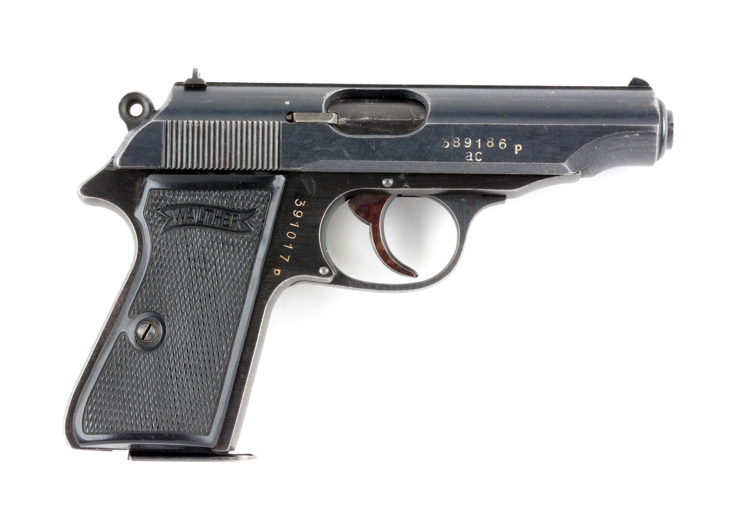 (C) Early Walther PP Semi-Automatic Pistol.