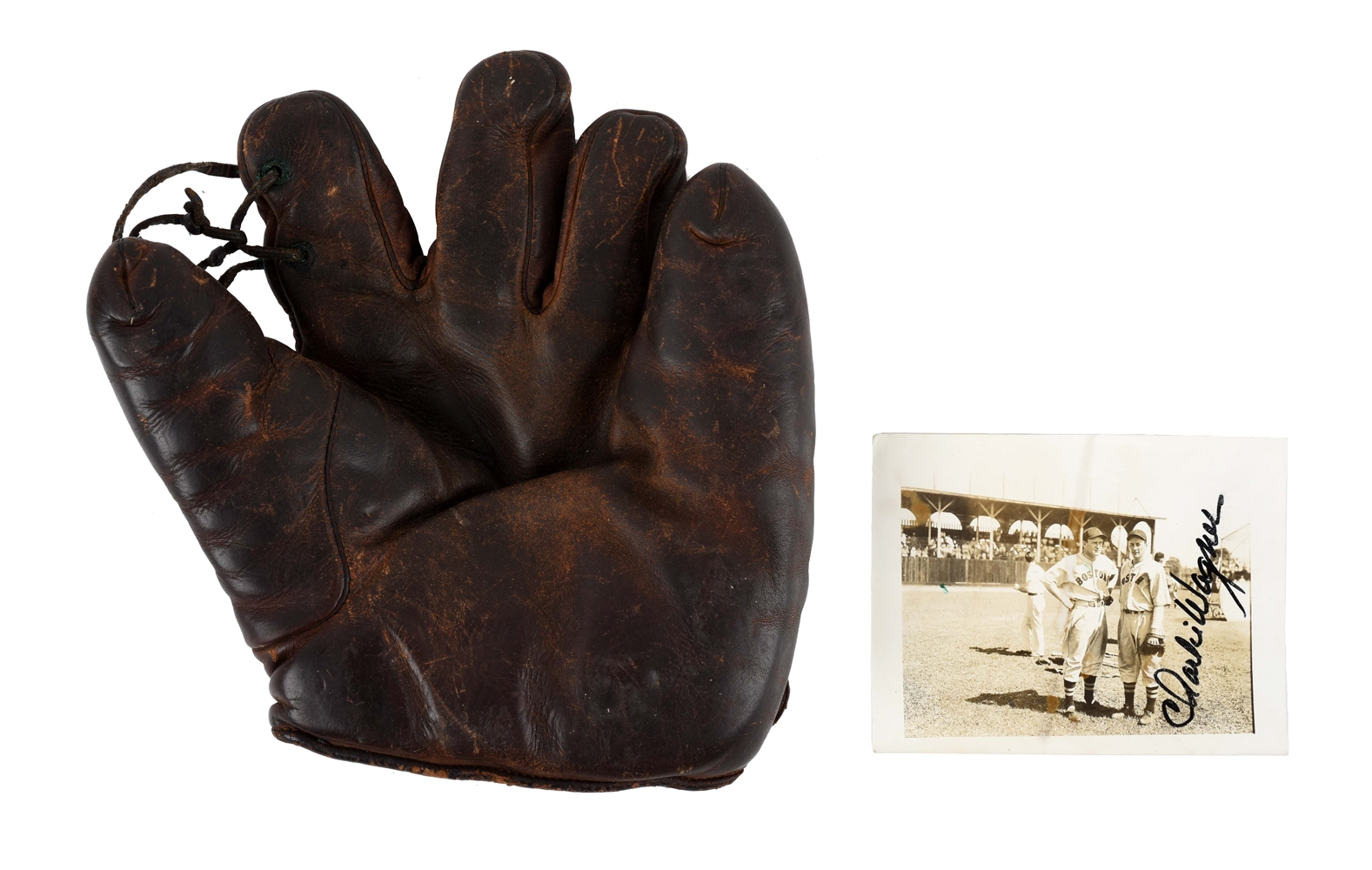 Lot Of 2: Charlie Wagner Game Used Glove & Photograph.