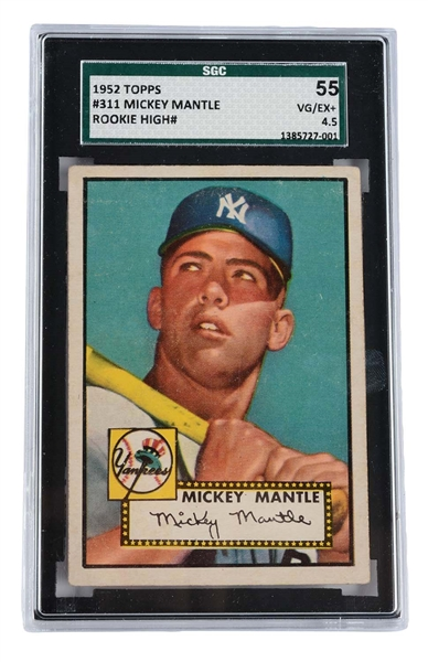 1952 Topps #311 Mickey Mantle Rookie Card SGC 55 VG/EX+ 4.5.