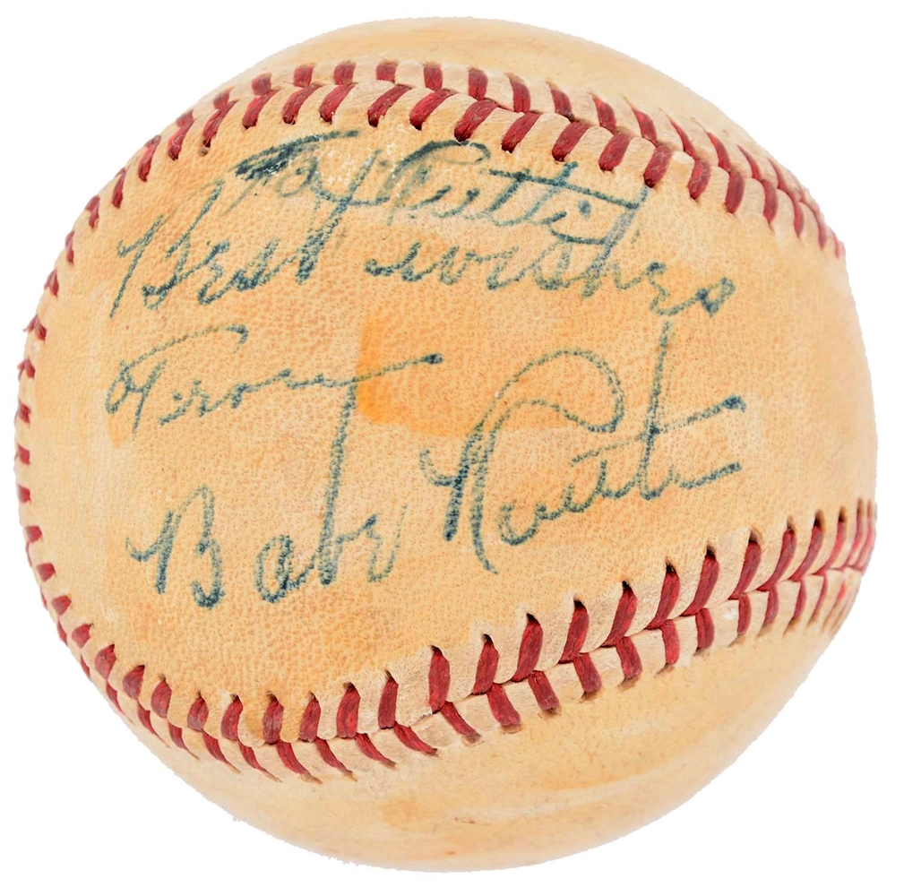 "Babe Ruth Singled Signed Baseball Penned ""To Ruth""."