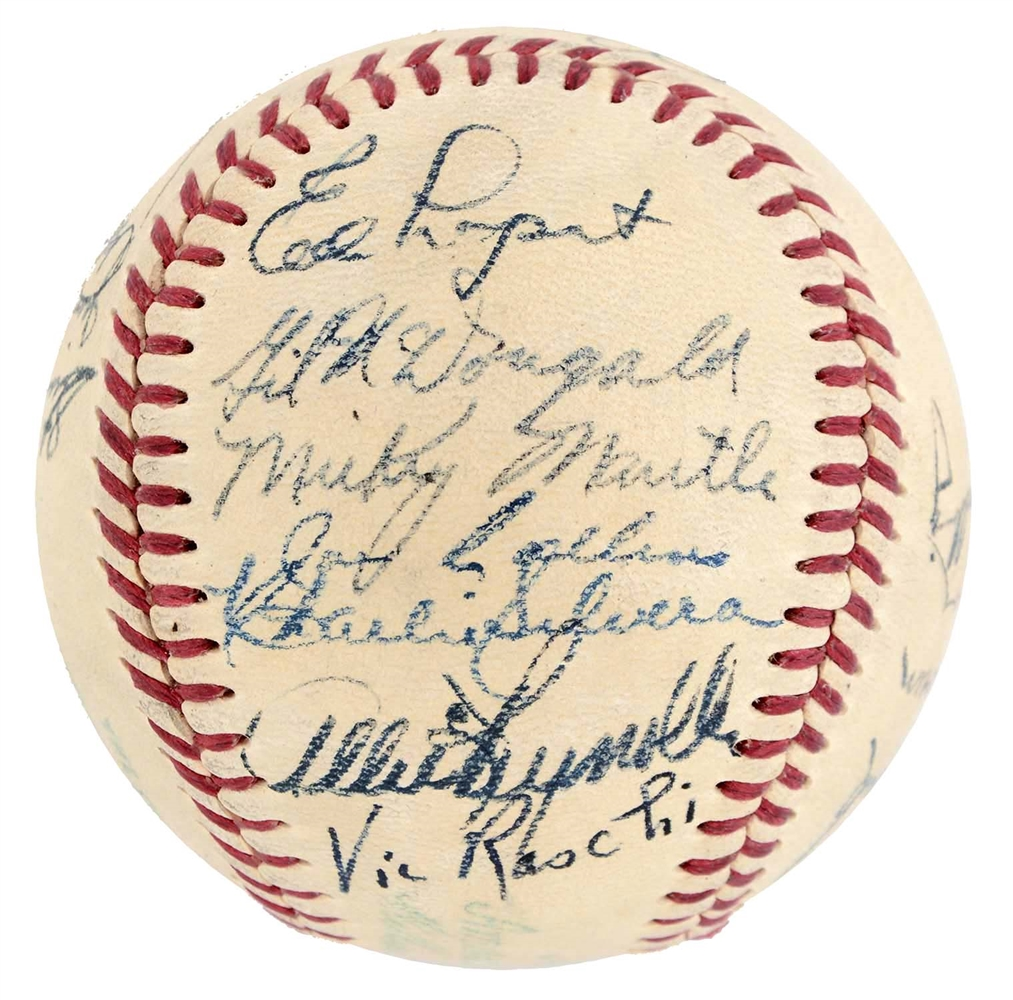 1951 New York Yankees Team Signed Baseball w/ Rookie Mickey Mantle Signature.