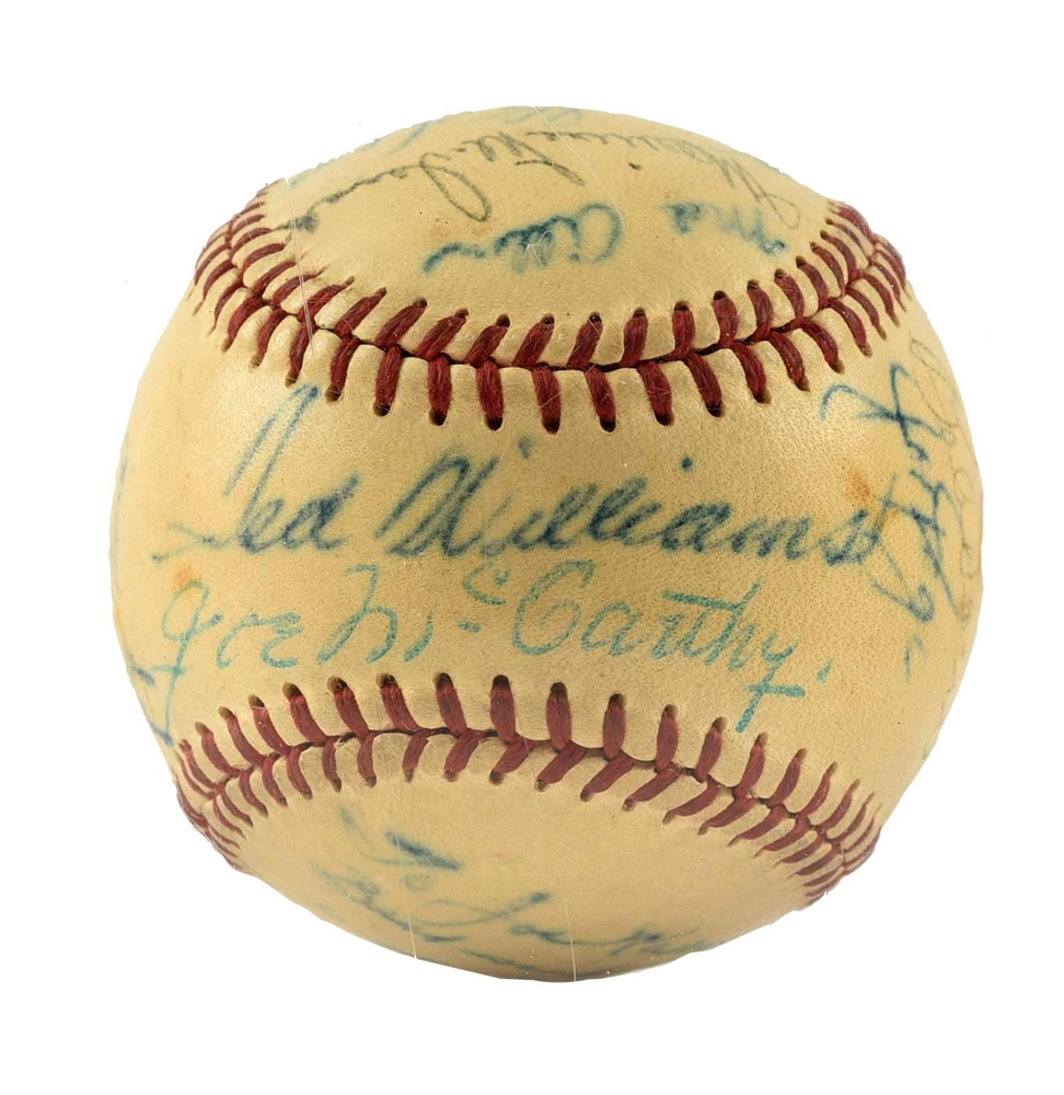 1940s Signed Baseball With Ted Williams, Joe McCarthy, & Yogi Berra.