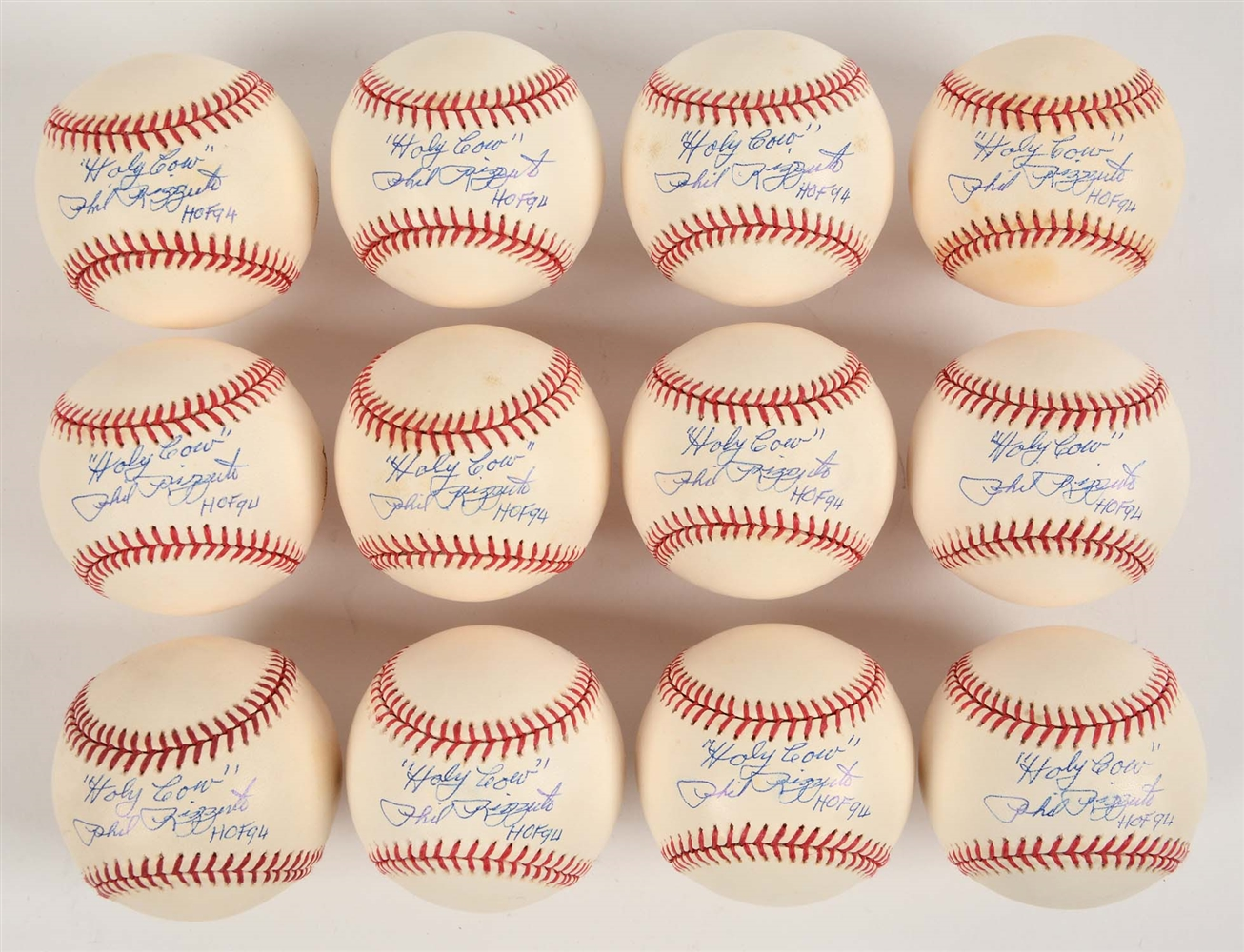 Lot of 12: Phil Rizzuto Signed Baseballs.