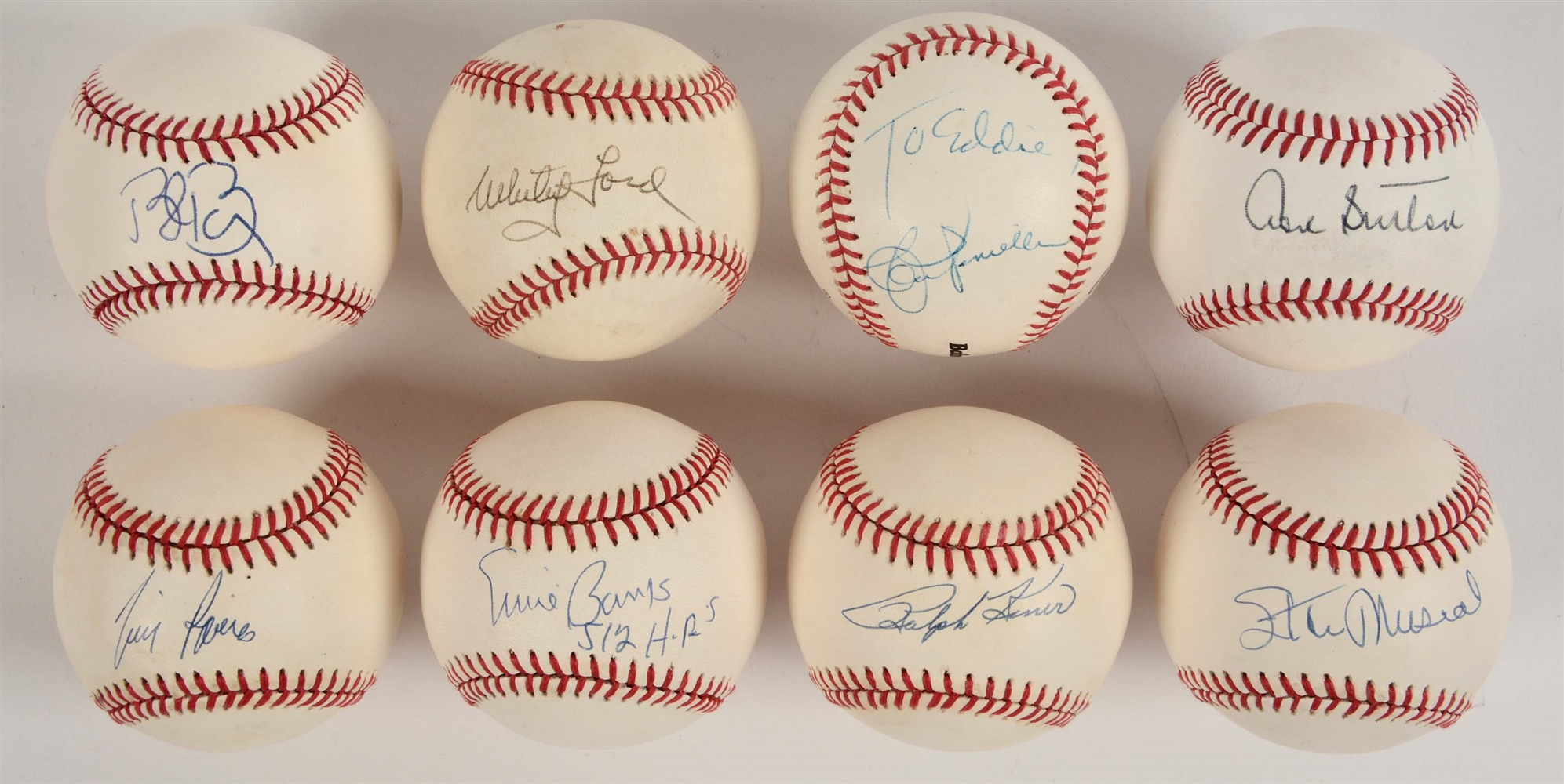 Lot of 8: Single Signed Baseballs Including Musial, Banks & Ford.