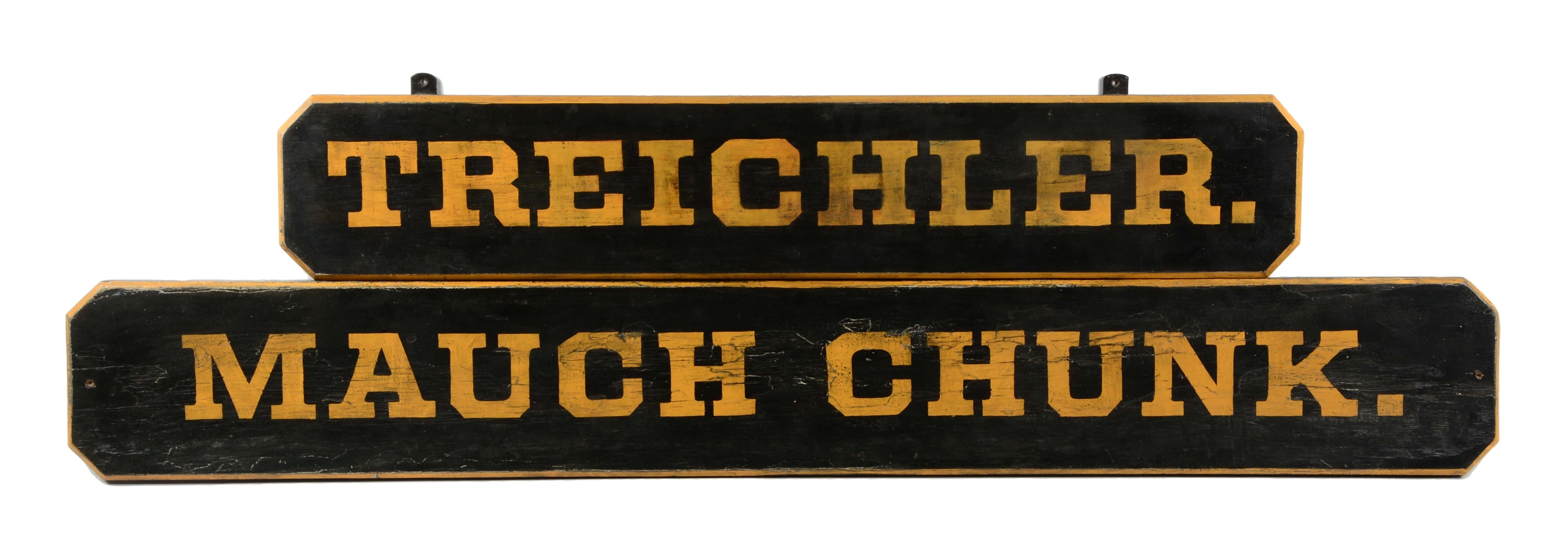 Lot of 2: Mauch Chunck & Tredichler Wooden Signs.
