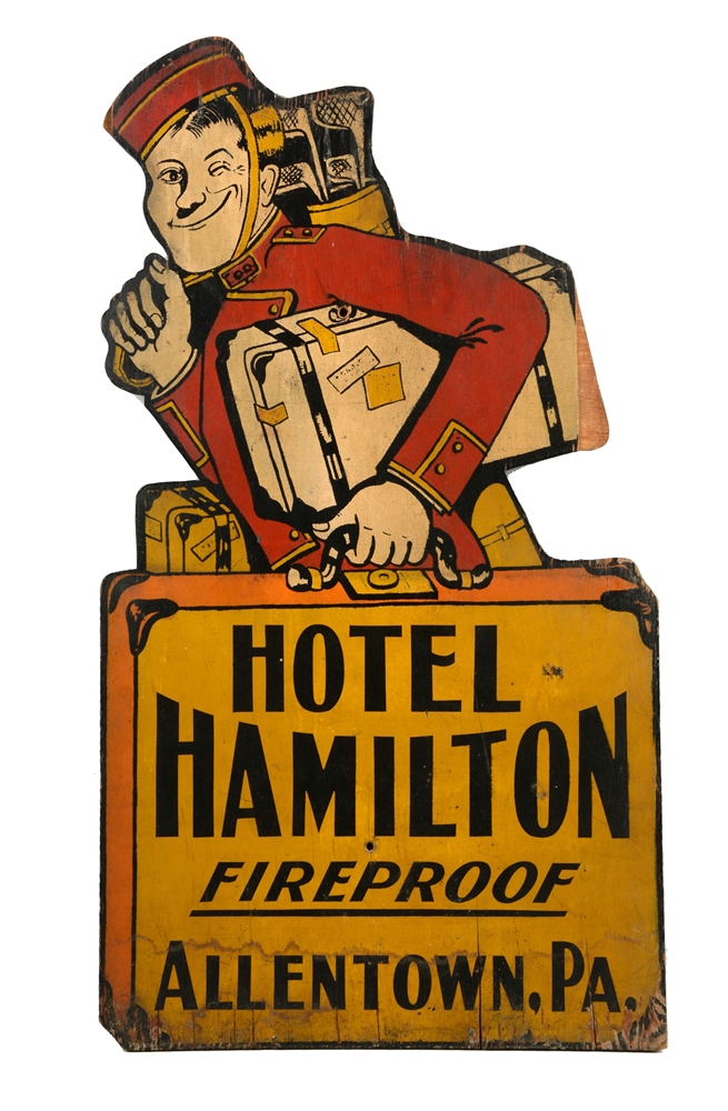 Hotel Hamilton Wood Sign from Allentown, Pa.