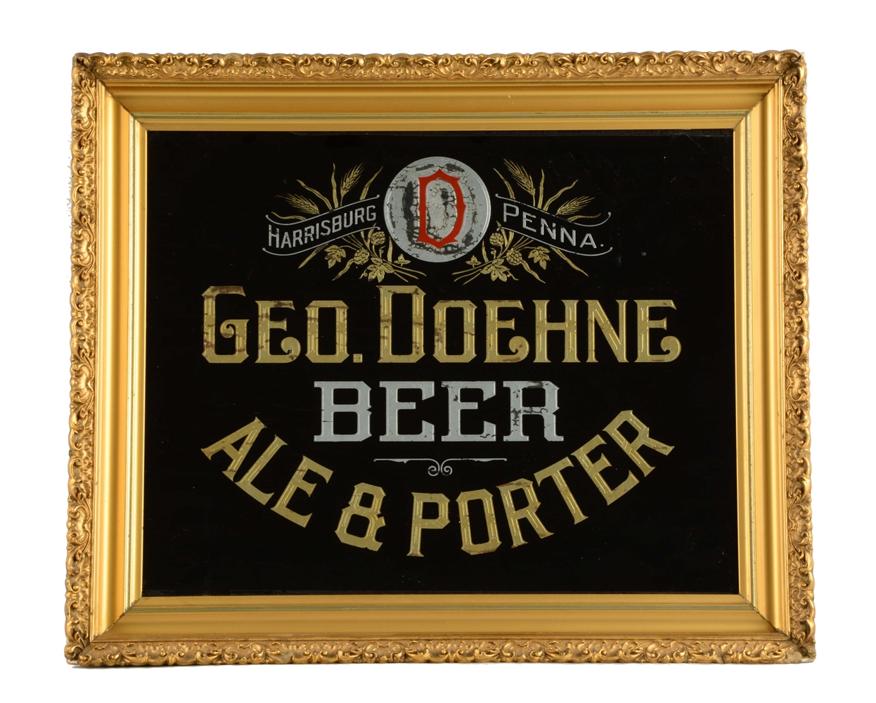 George Doehne Beer Reverse Glass Sign.