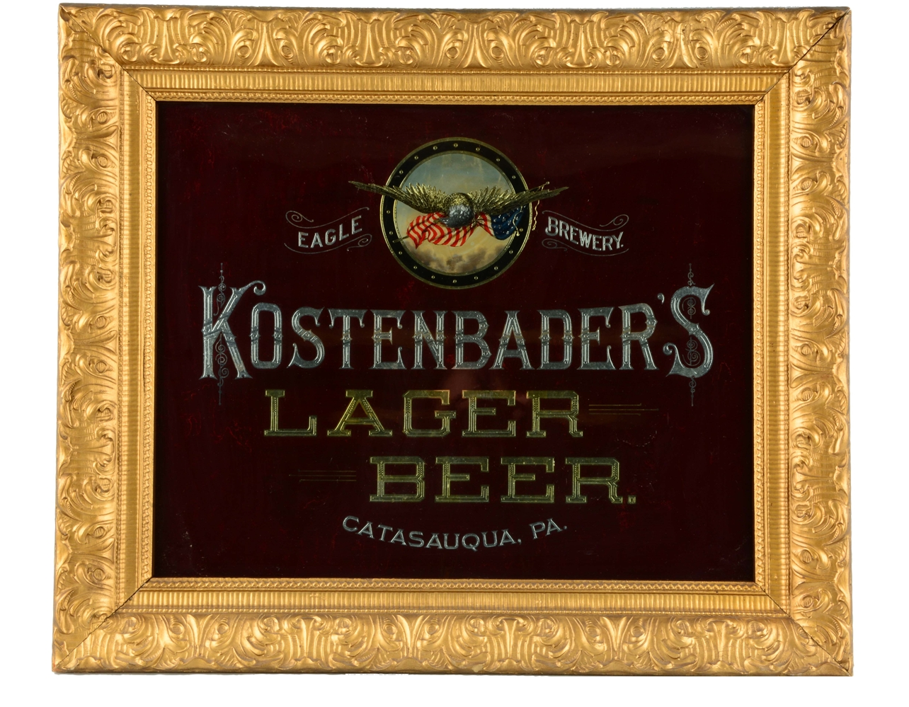 Kostenbaders Lager Beer Reverse Glass Sign.