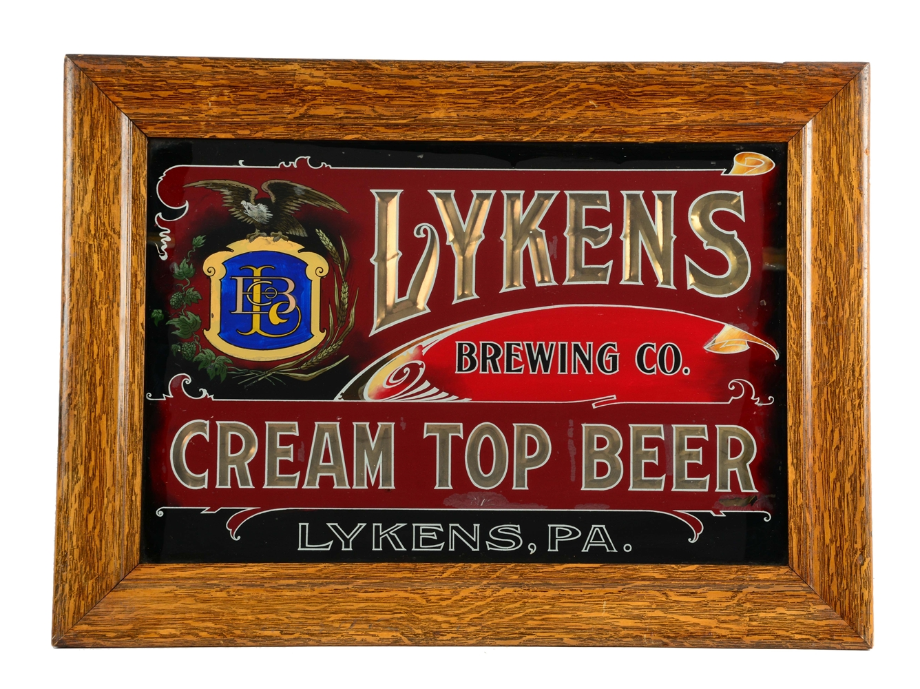 Reverse on Glass Lykens Beer Sign .