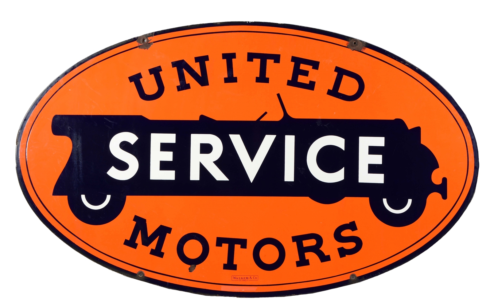 United Motor Service Oval Porcelain Sign.