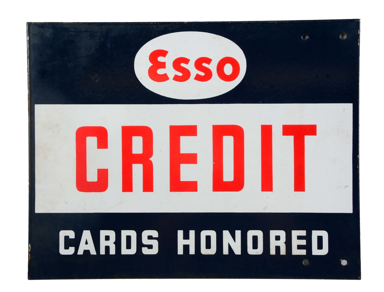 Esso Credit Cards Honored Porcelain Sign.