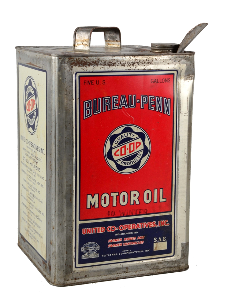 Bureau-Penn Co-op Motor Oil Five Gallon Can.