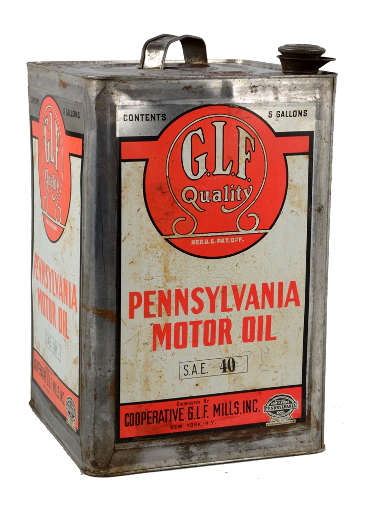 G.L.F. Quality Motor Oil Five Gallon Can.