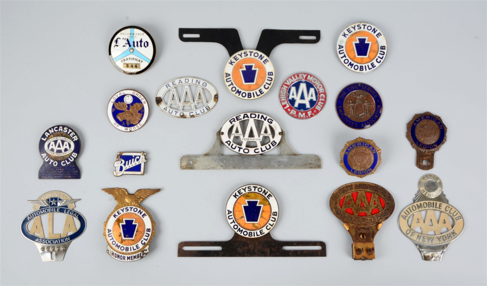 Lot of 15: AAA Auto Club Radiator Badges & License Plate Attachments.