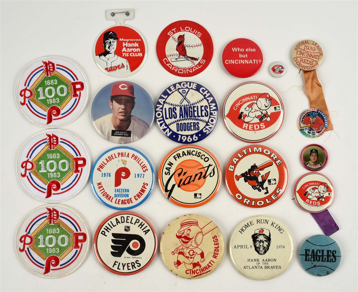 Lot of 21: Sports Pins & Patches.