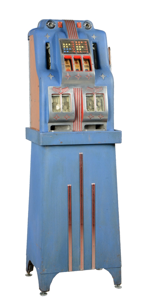 **5¢, 25¢ Bally Double Bell Console Slot Machine.