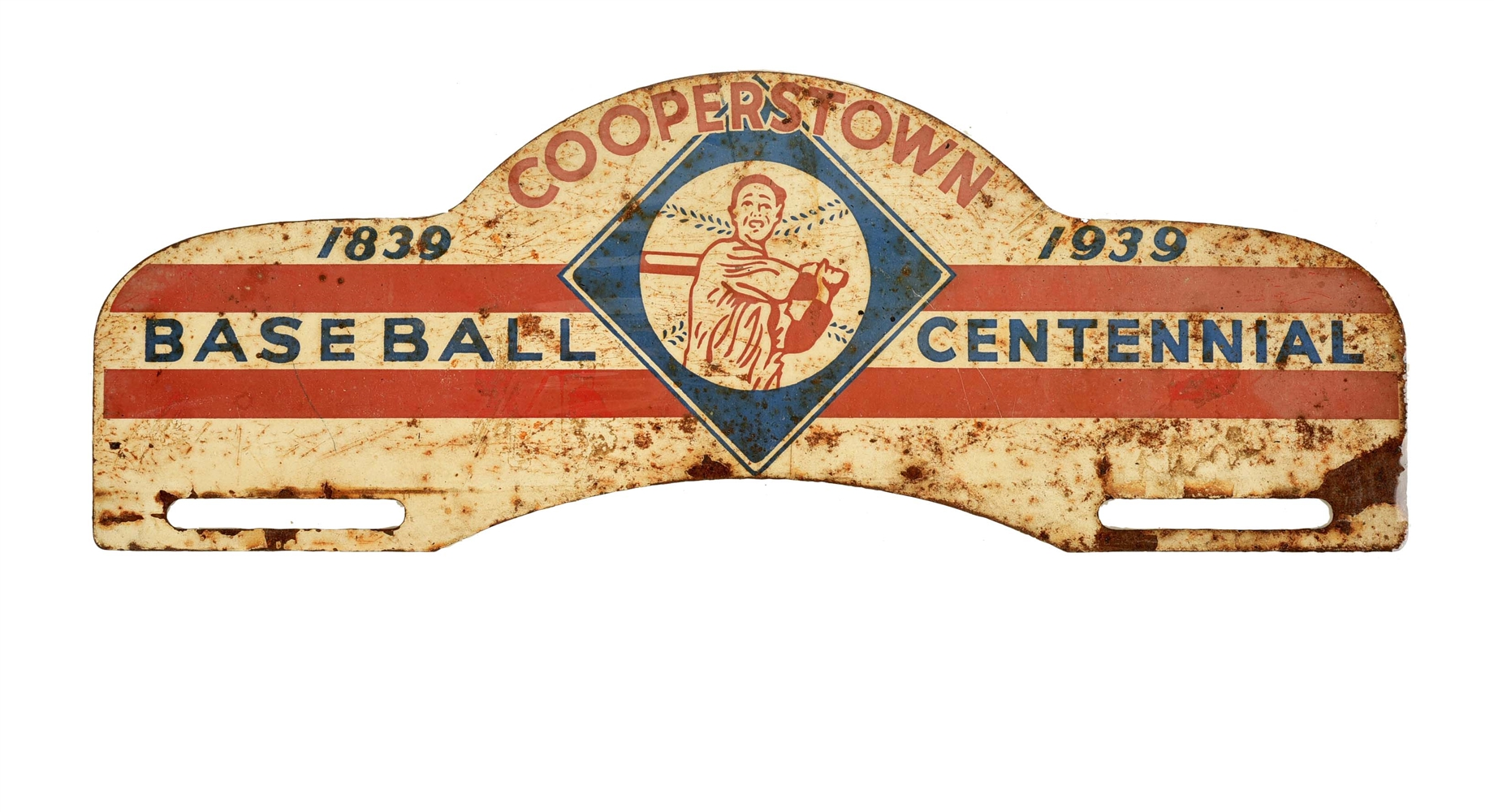 1839-1939 Cooperstown Baseball Centennial License Plate Topper.