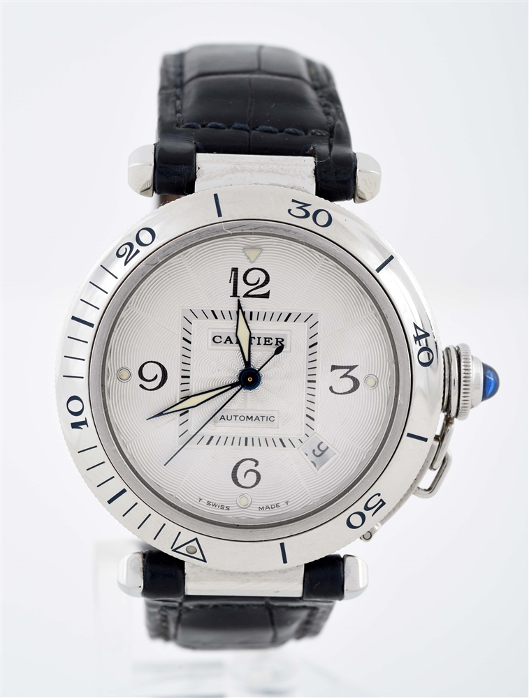 Cartier Pasha in Stainless Steel on Leather Strap with Cartier Buckle