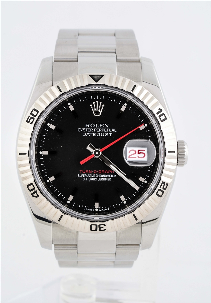 Rolex Turn o Graph Datejust with Fluted Timing Bezel and Oyster Bracelet
