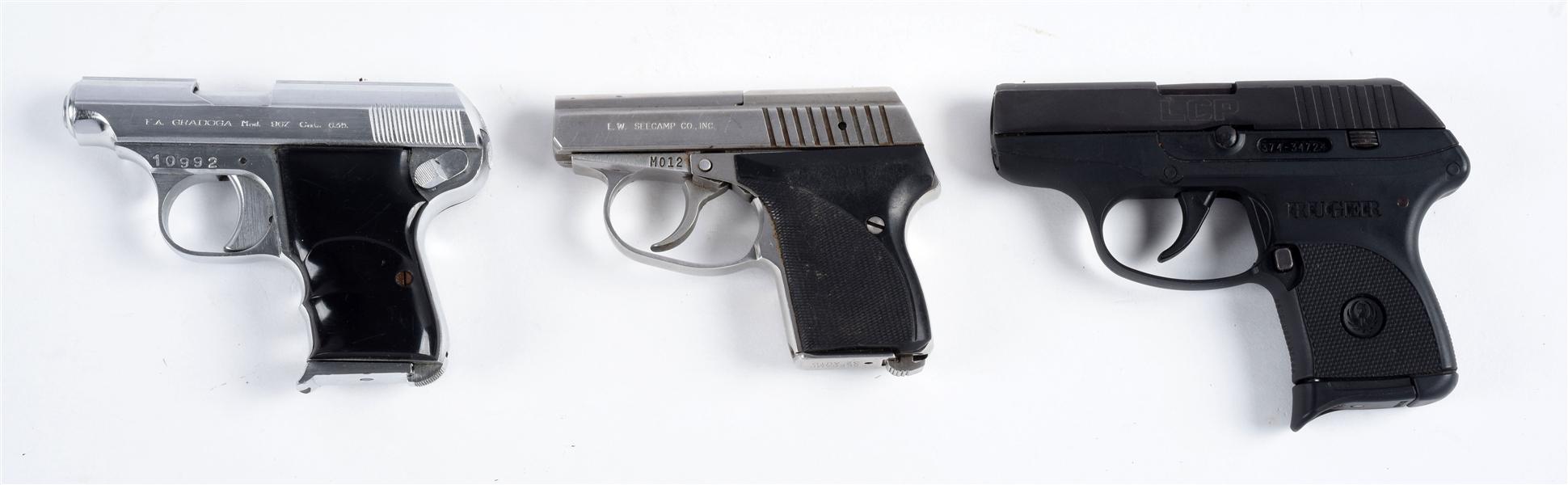 Lot Detail - (M) Lot of 3: Semi-Automatic Pocket Pistols
