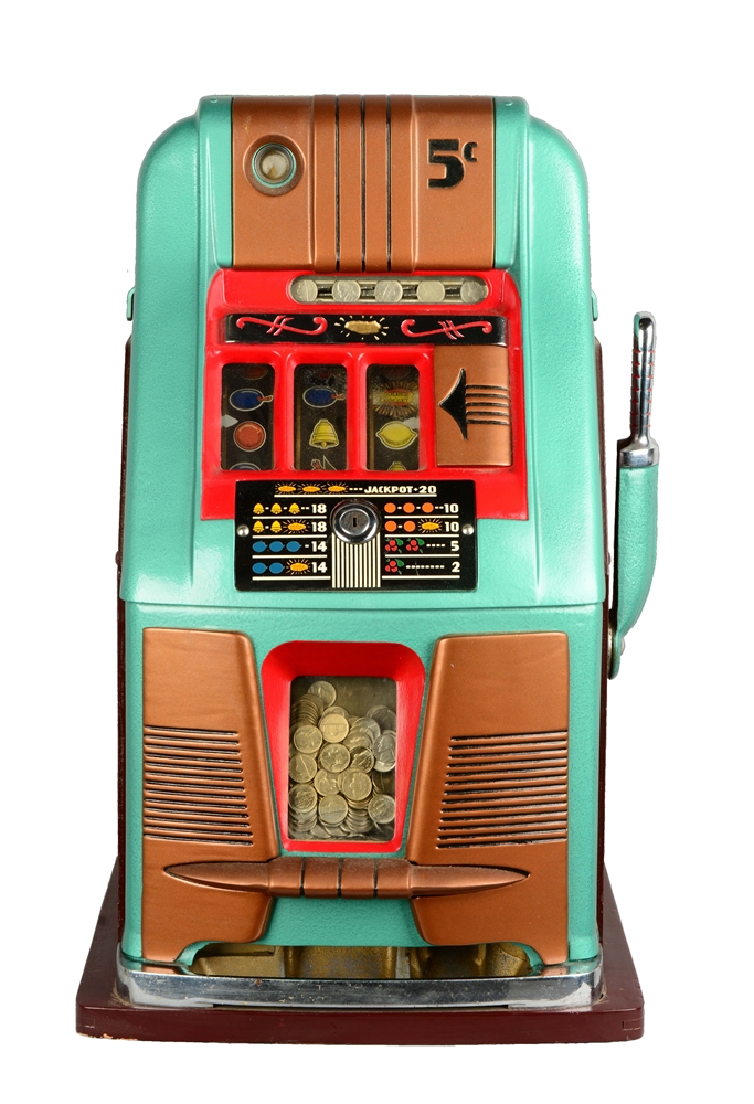 **Reproduction 5¢ Mills High Top Golden Nugget Slot Machine.