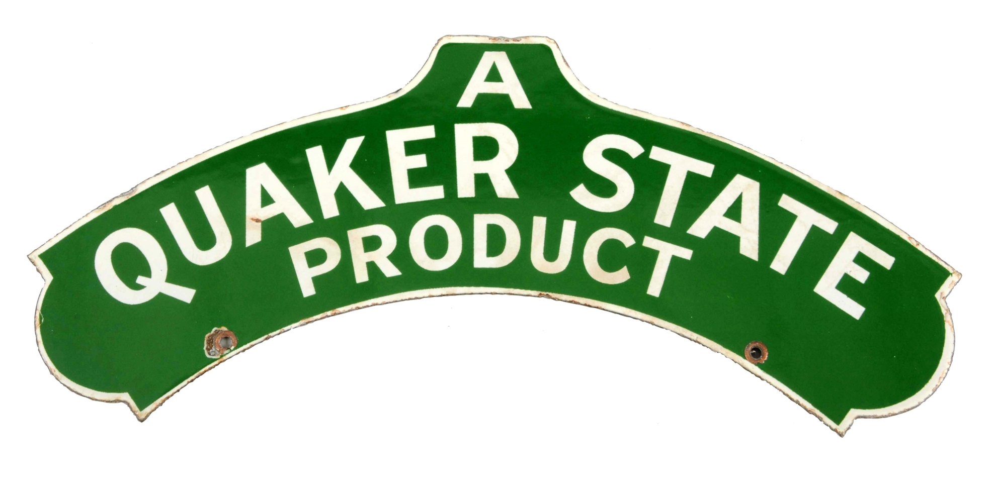 Quaker State Product Diecut Porcelain Sign.