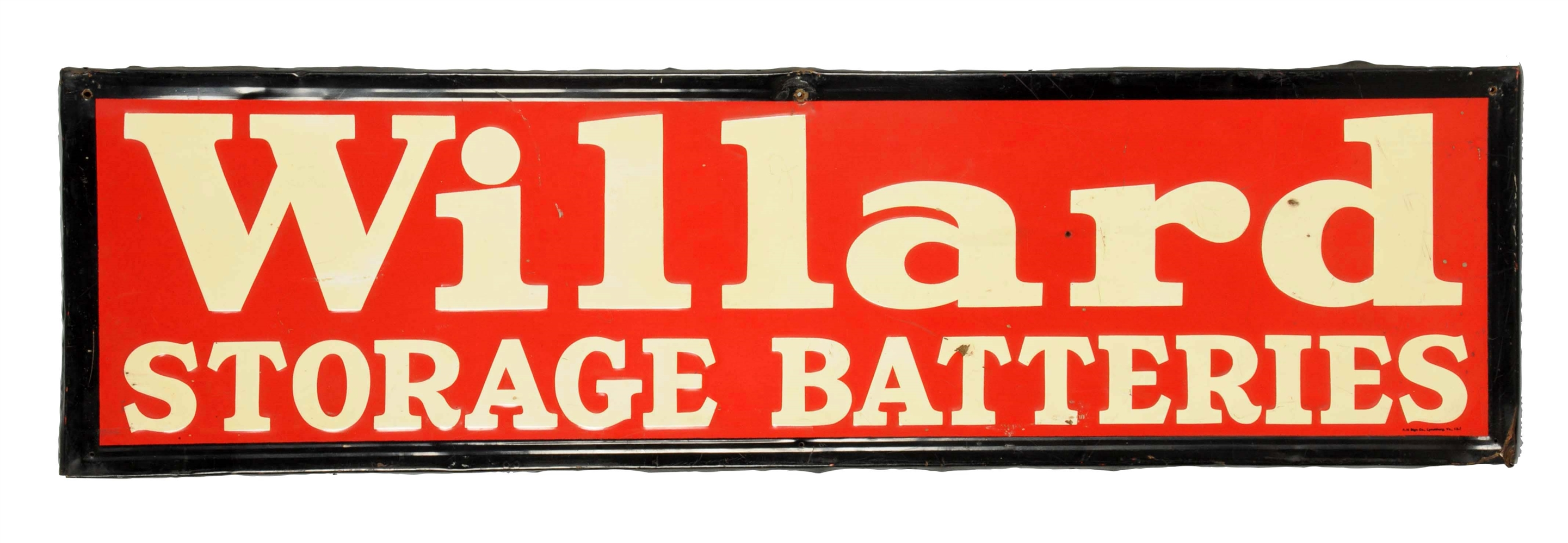 Willard Storage Batteries Embossed Metal Sign.