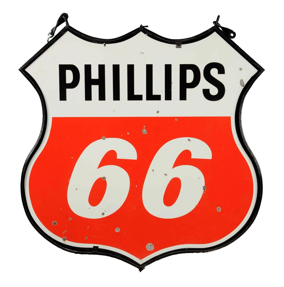 Phillips 66 (red & white) Shield Shaped Porcelain Sign.