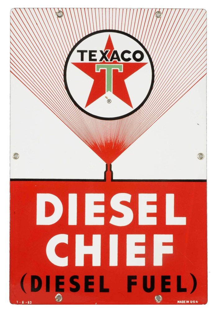 Texaco (white-T) (fine spray) Diesel Chief Porcelain Sign.