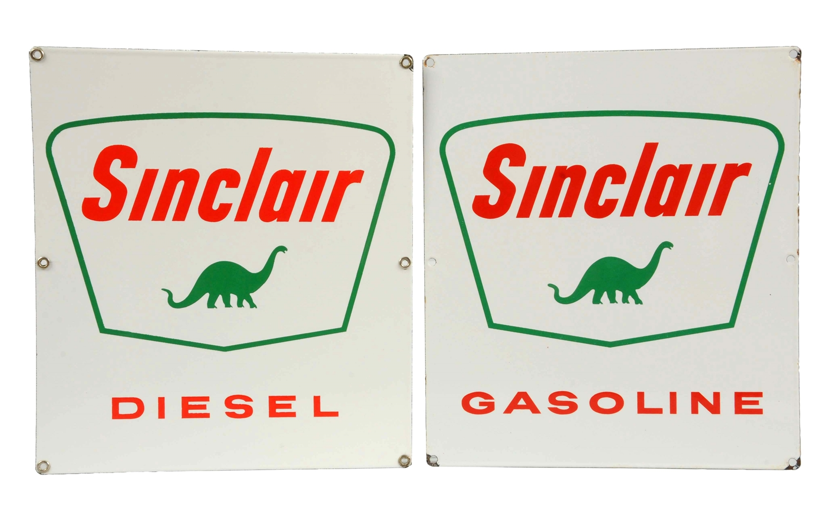 Lot of 2: Sinclair Gasoline & Diesel w/ Dino Porcelain Signs.