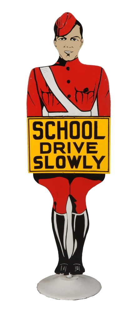 """School Drive Slowly"" Crossing Guard Diecut Metal Curb Sign."