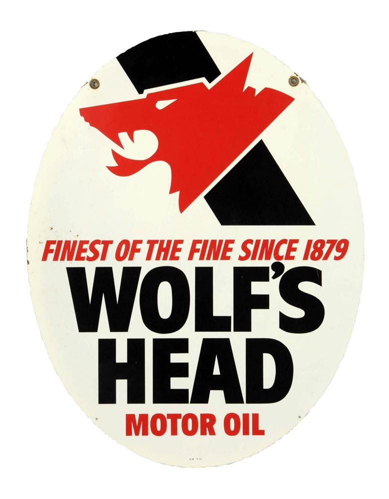 Wolfs Head Motor Oil w/ Logo Oval Metal Sign.