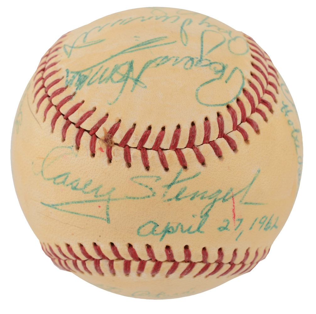 1962 NY METS SIGNED BASEBALL W/ HORNSBY & STENGEL.