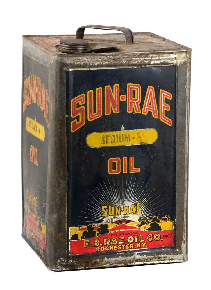 Sun Rae Oil Five Gallon Square Metal Can.