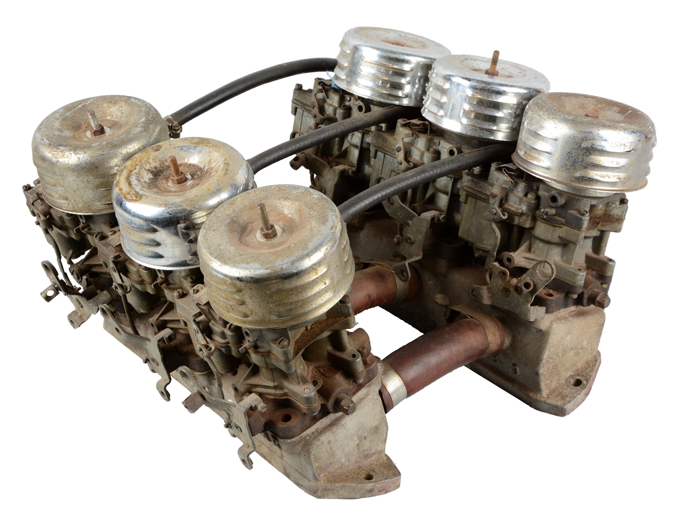 Small Block Chevrolet Weiand Intake with Six Carbs.