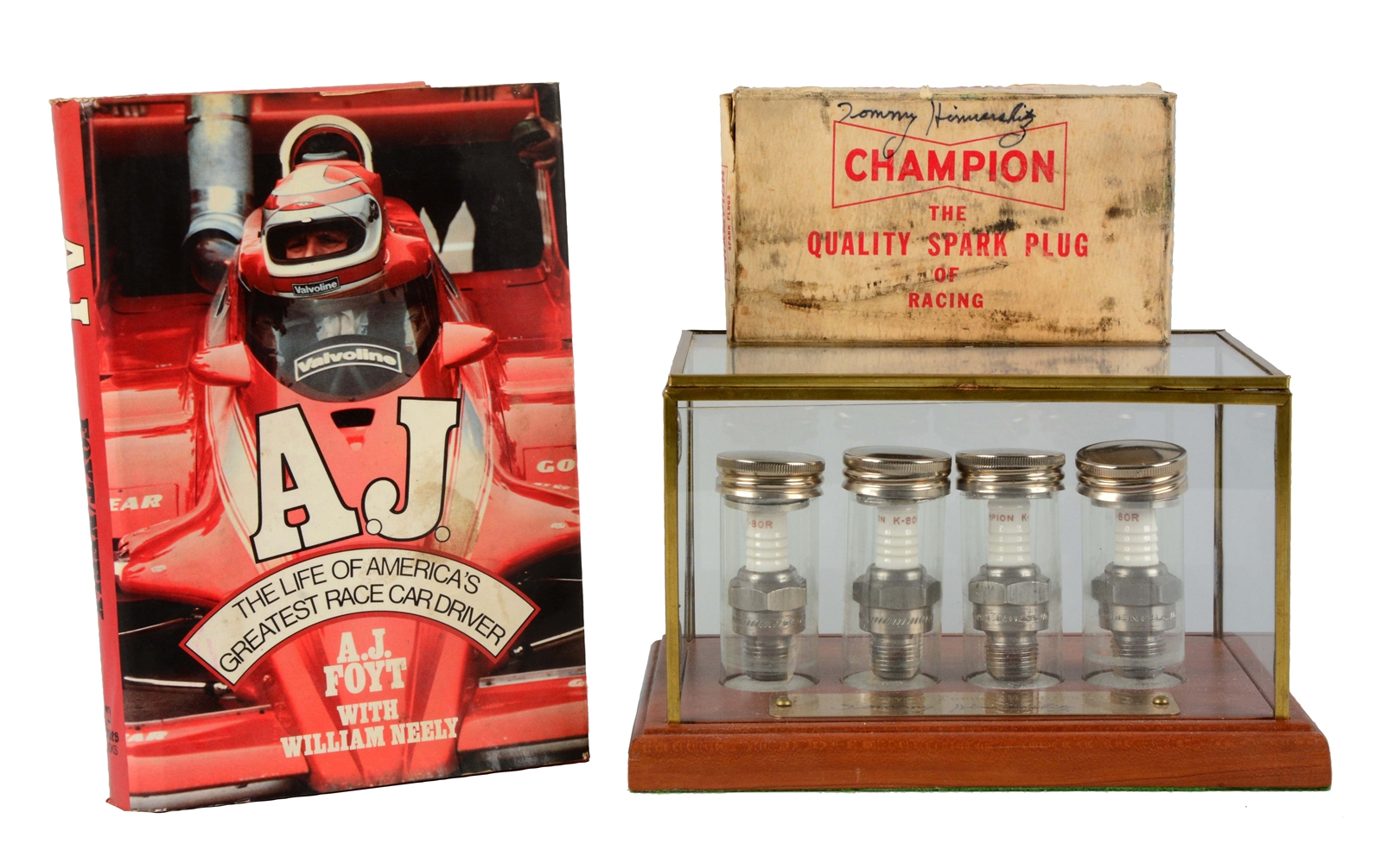Tommy Hinnershitz Spark Plugs in Case with Book.