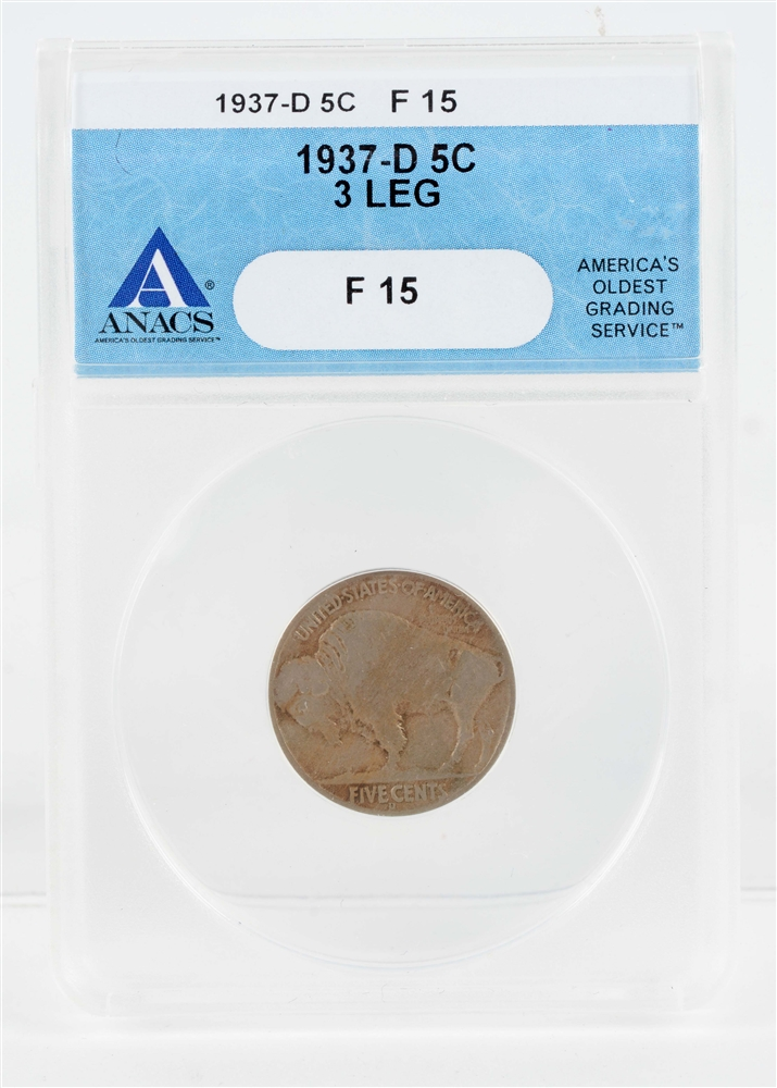 1937 D 3-Legged Buffalo Nickel.