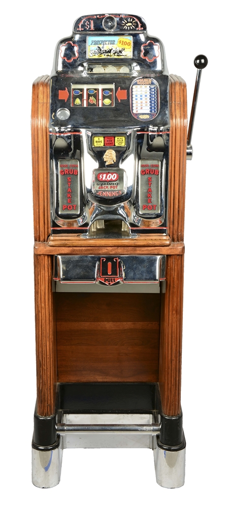 **Recreation $1 O.D. Jennings Prospector Console Slot Machine.