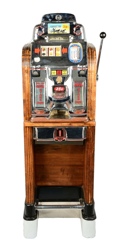 **Reproduction 25¢ Jennings Prospector Console Slot Machine.