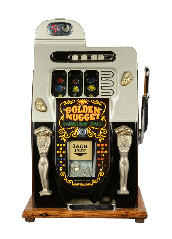**Reproduction 5¢ Mills Golden Nugget Slot Machine.