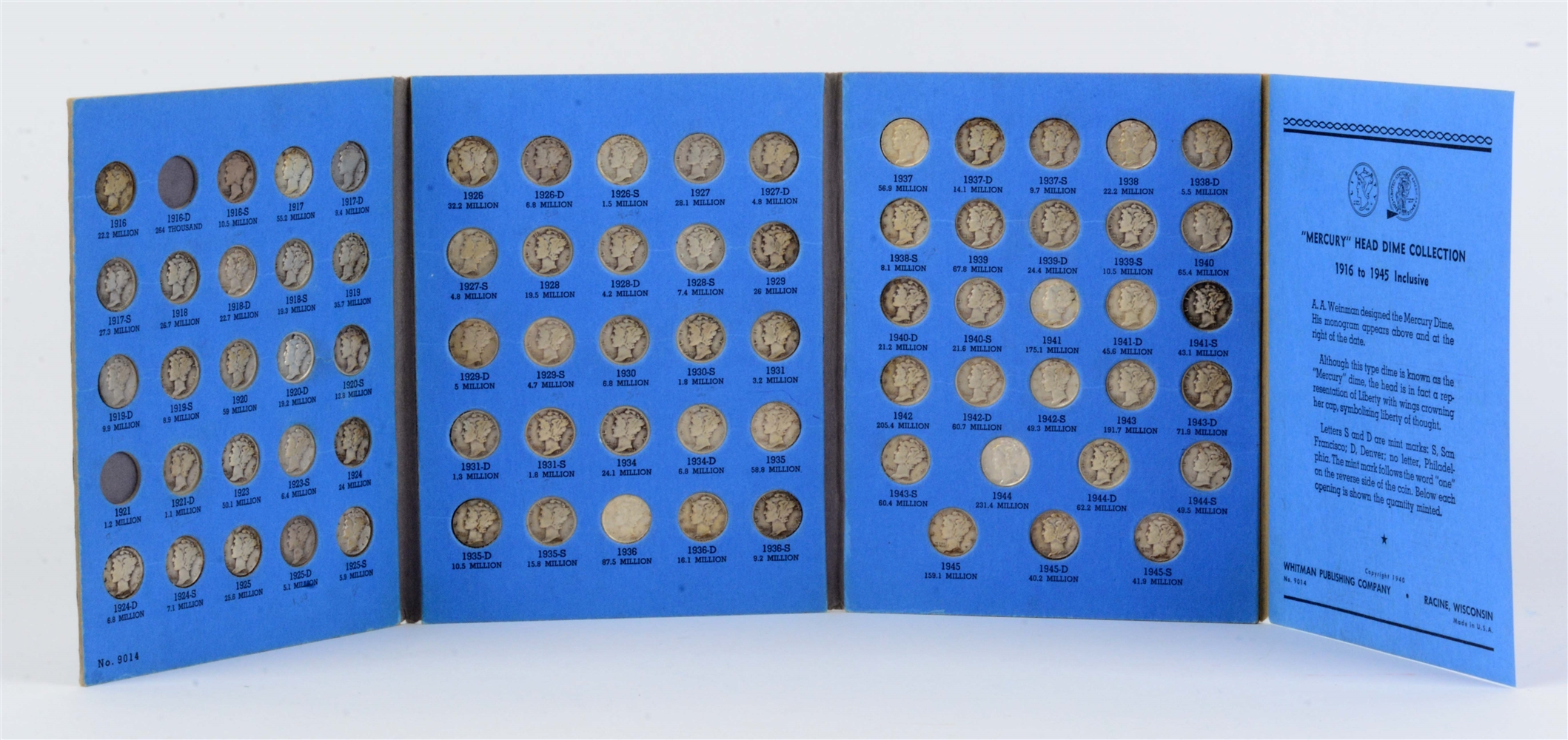 Mercury Head Dime Collection in Whitman Album.