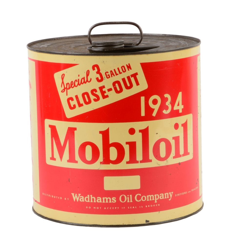 1934 Mobiloil Wadhams Three Gallon Close-Out Oil Can.