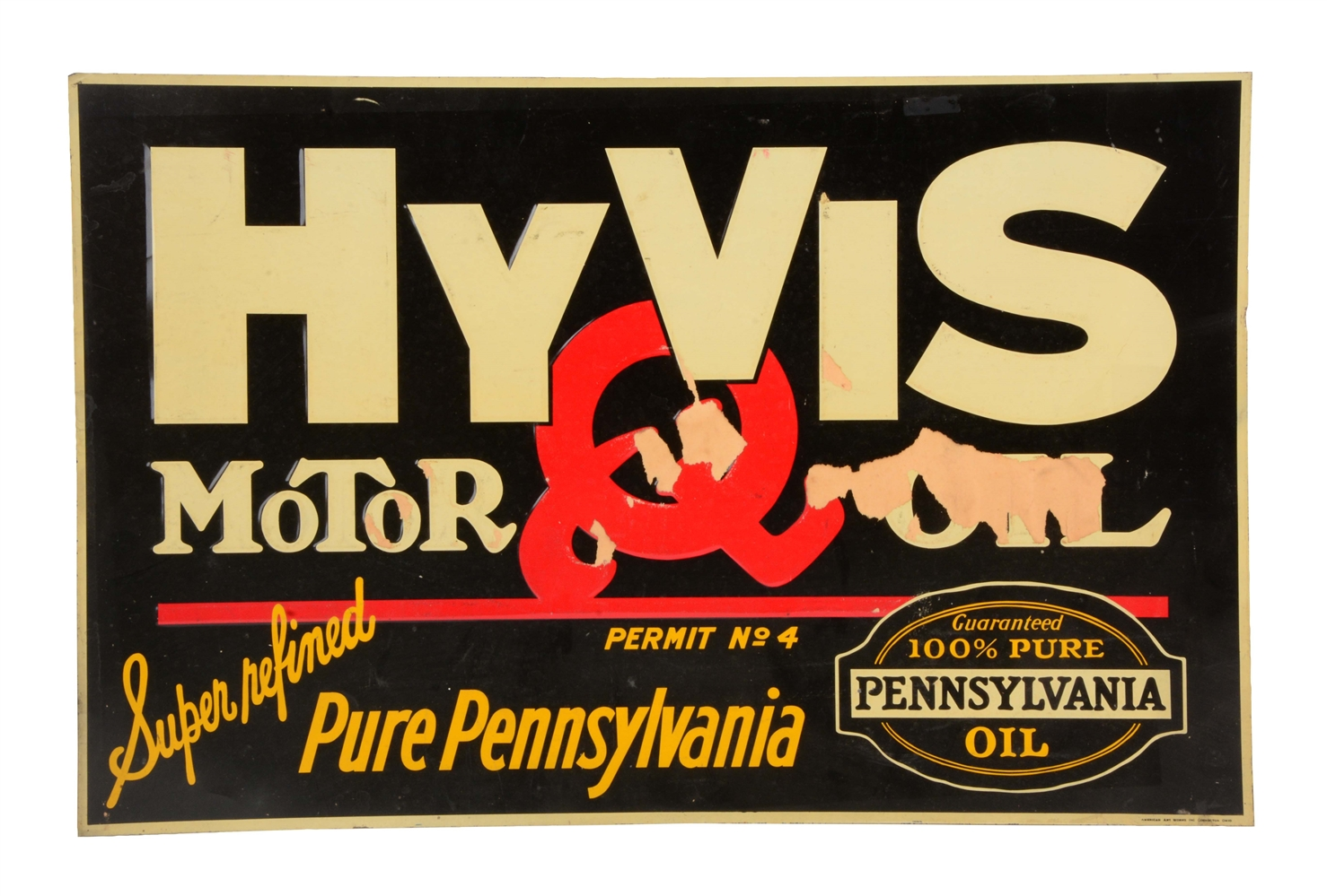 HyVis Motor Oil Embossed Metal Tacker Sign.