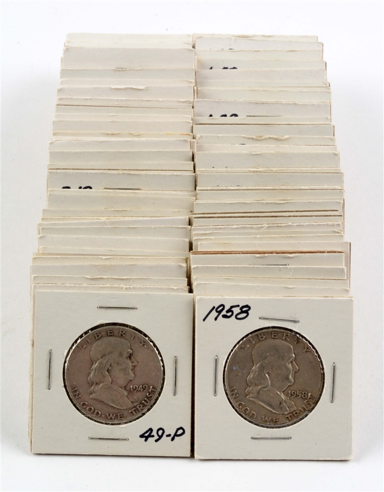 Lot of 90: Ben Franklin Half Dollars.