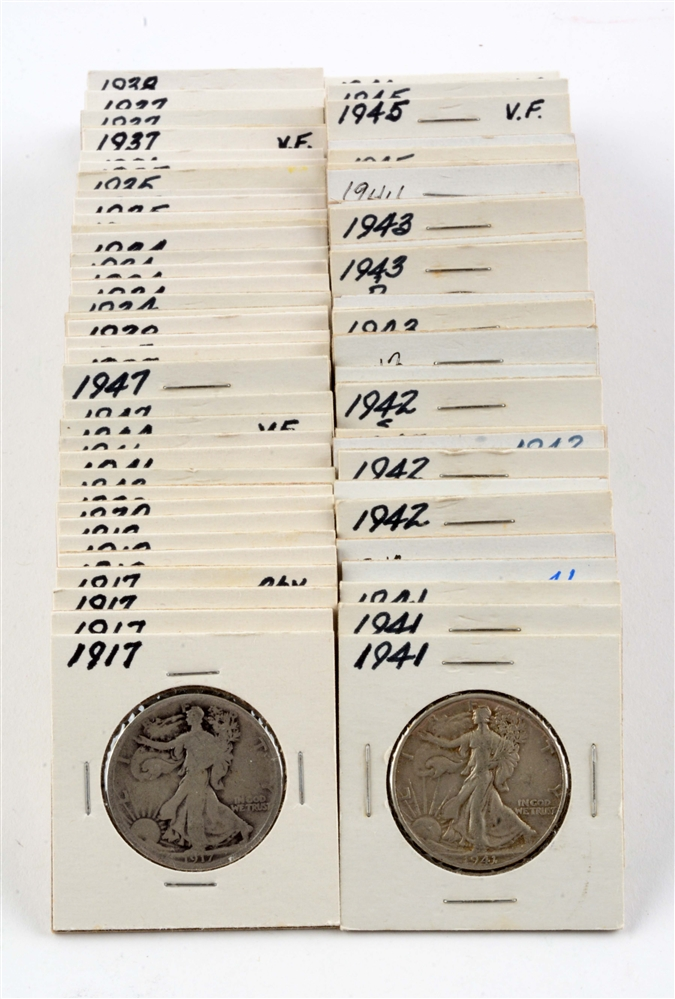 Lot of 82: Walking Liberty Half Dollars.
