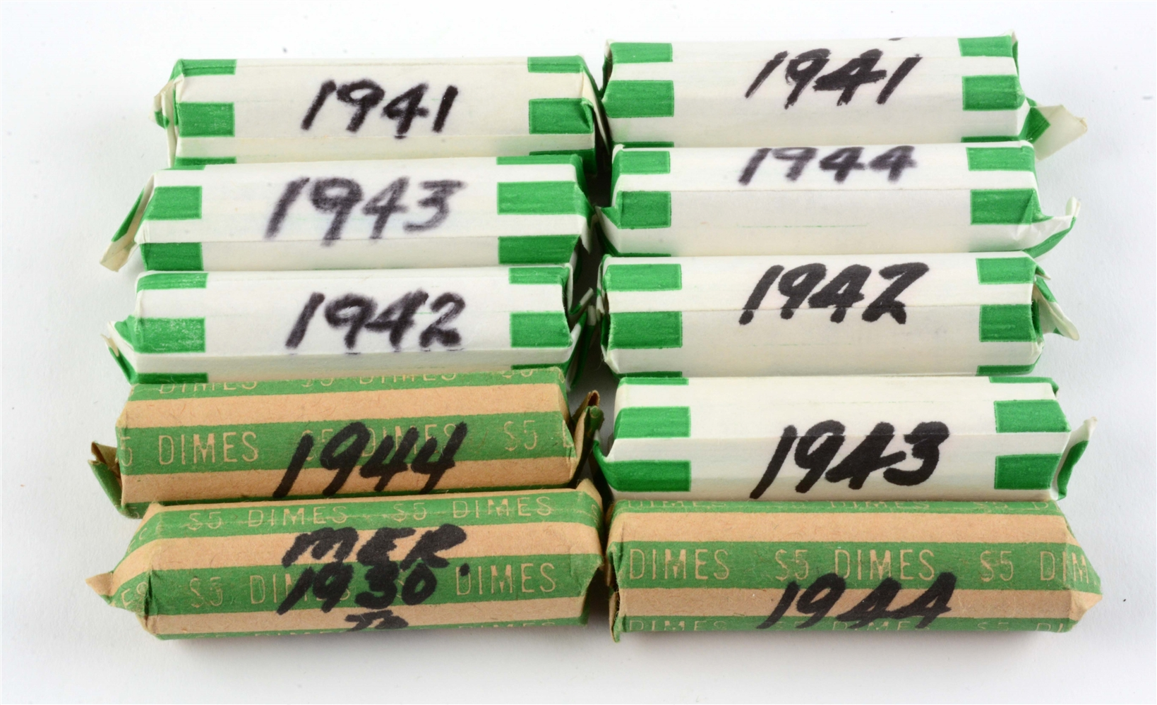 Lot of 10: Rolls of Mercury Dimes.